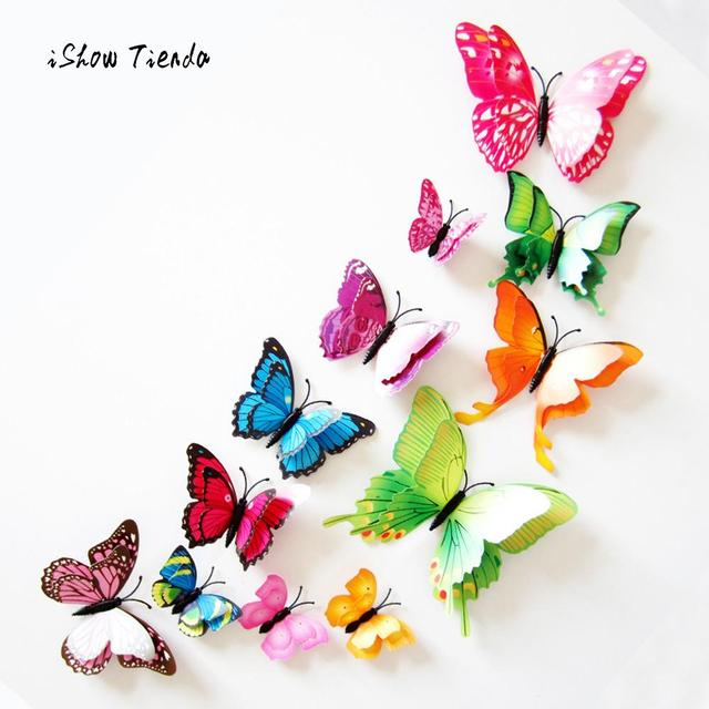 12pcs Wall Stickers 3D Butterfly Rainbow Stickers Home Decorations Kids Room Decals Beautiful Butterfly Fridges Stickers