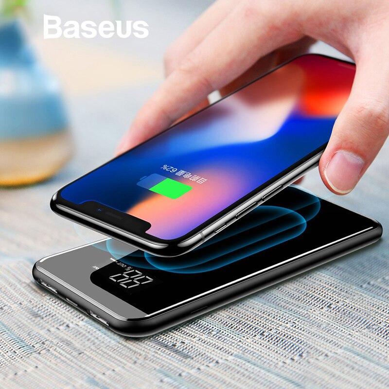 Baseus LCD 8000 mAh cargador inalámbrico QI 2A Dual USB banco de potencia para iPhone X 8 Samsung S9 cargador de batería 5 W almohadilla de carga inalámbrica