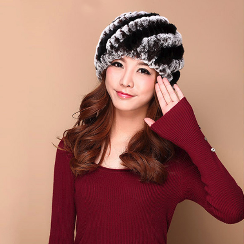 Real Rex Rabbit Fur Hats for Women Natural Caps Lady Winter Warm Genuine Knitted Beanies Headwear