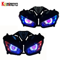 KEMiMOTO For YAMAHA YZF R25 R3 YZF R25 YZF R3 HID Motorcycle Accessories Headlight Angel Demon Eye HID Projector 2013 2017