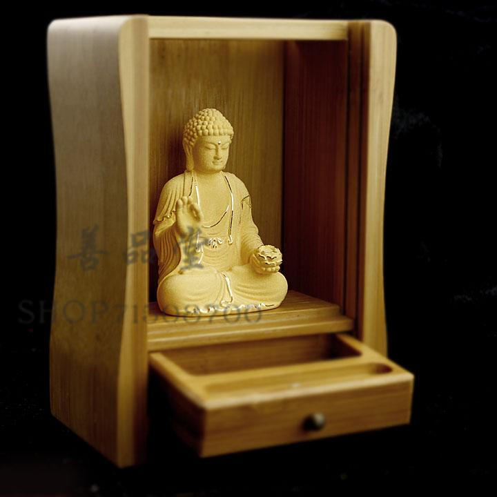 Portable mini alluvial gold temple with shrines of Buddha Ksitigarbha Po Sam JiuhuaPortable mini alluvial gold temple with shrines of Buddha Ksitigarbha Po Sam Jiuhua