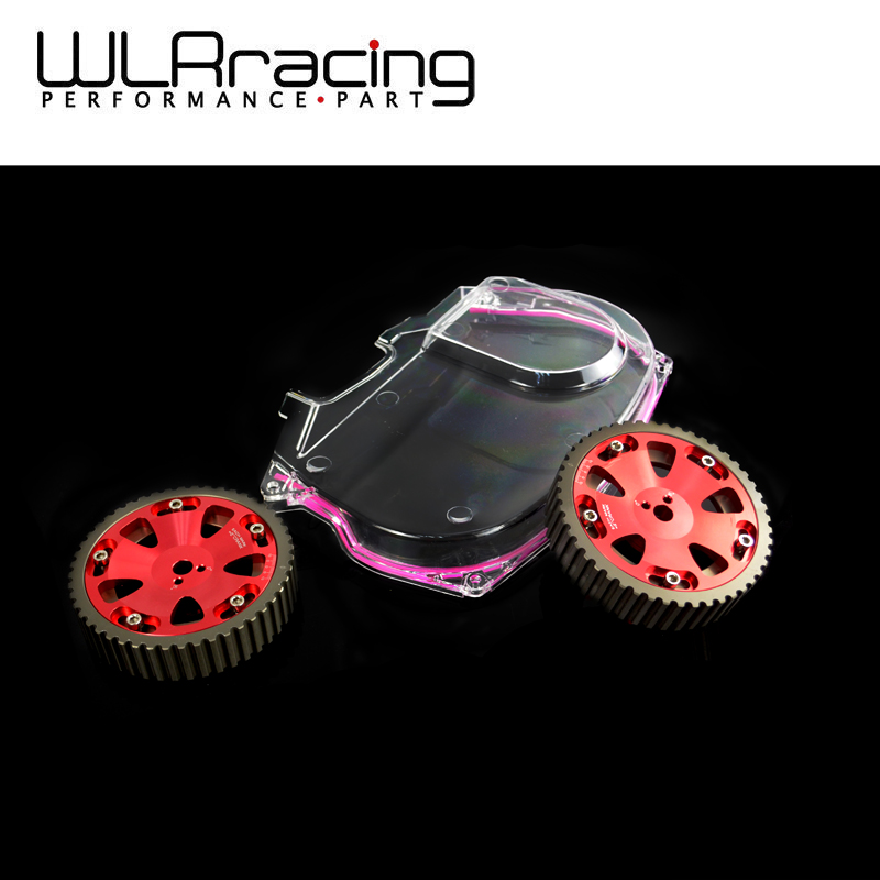 WLR RACING - Aluminum Cam Gear + Clear Cam Cover For Mitsubishi Lancer Evolution EVO 9 IX Mivec 4G63 WLR6538R+6334 vr racing hnbr racing timing belt aluminum cam gear clear cam cover for mitsubishi lancer evolution evo 9 ix mivec 4g63