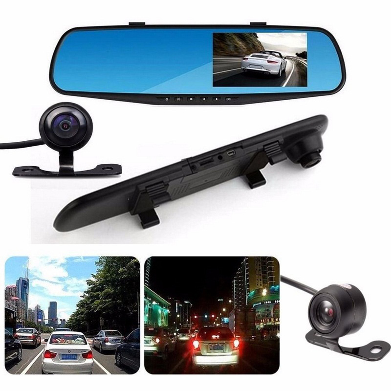 все цены на Full HD 1080P Car Dvr Dash Camera Mirror 4.3 Inch LCD Auto Recorder Camera Rearview Mirror Digital Video Dual Lens Camcorder онлайн
