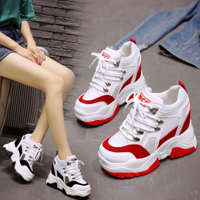 Casual Hauteur Sneakers Cm Dames 8 rouge Coréen La Simples Sauvage Automne Nouvelle pourpre Version Blanc Augmenter Noir Chaussures De Épais dBreCox