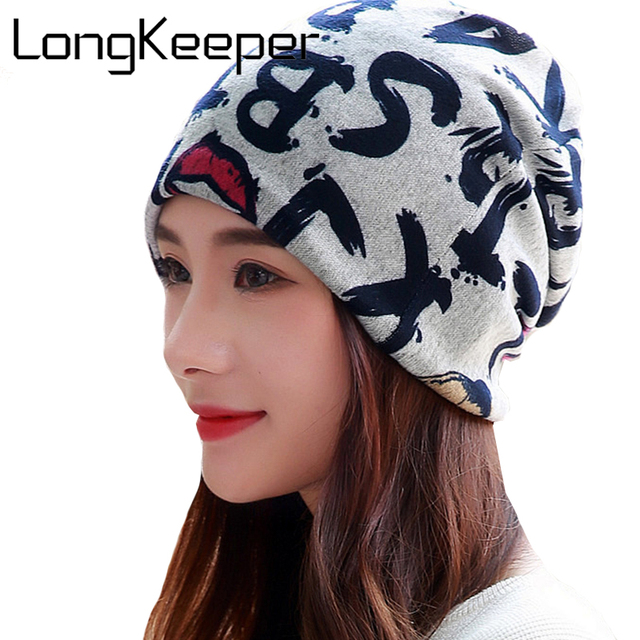 159f600c29624 LongKeeper Fashion Casual Design Plain Womens Beanie Hat Cool Snap Backs Neck  Scarf Double Use For