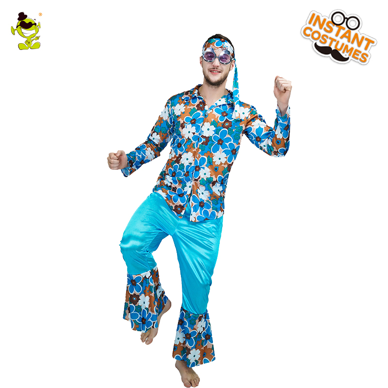 Adult Mens 60s 70s Happy Hippie Groovy Dancer Costumes Colorful