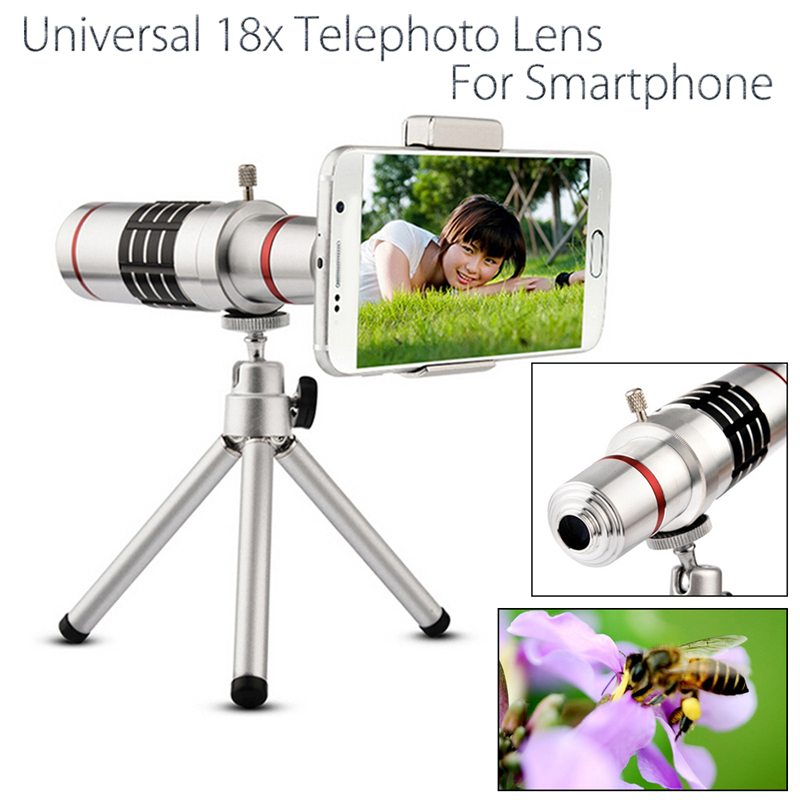Universal 18x zoom lens Magnification Optical Camera Telephoto Lens Telescope With mini Tripod For Iphone Smartphone Silver 1