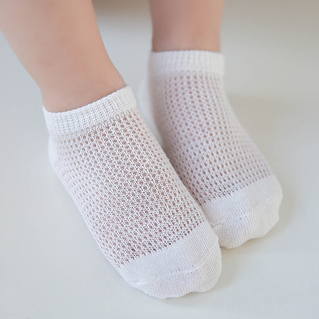 5 Pairs/lot Summer Mesh Kids Socks For Baby Boy Girl 0-8 Years Breathable Sport Sock white solid color cotton thin ankle sock
