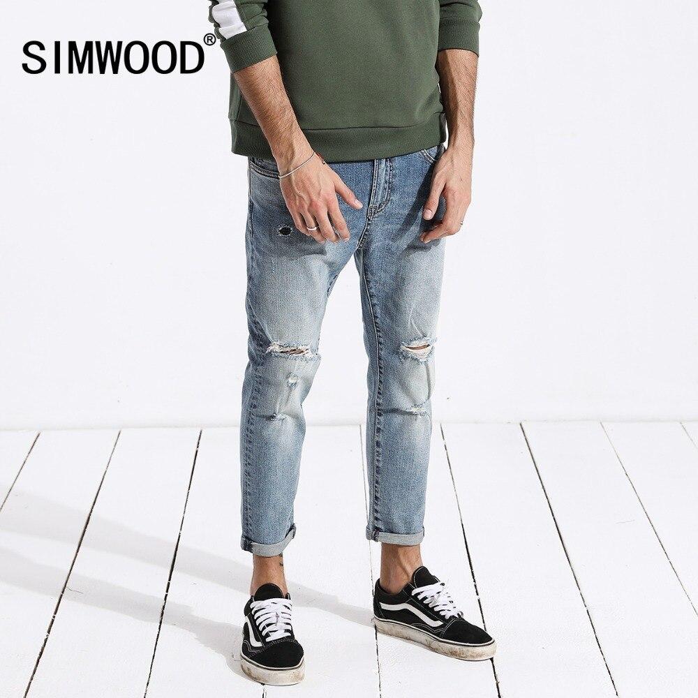 SIMWOOD джинсы мужские в стиле хип-хоп модные рваные skinny Ankle-длина джинсы slim fit уличная мужская одежда 2018 Лето 180217
