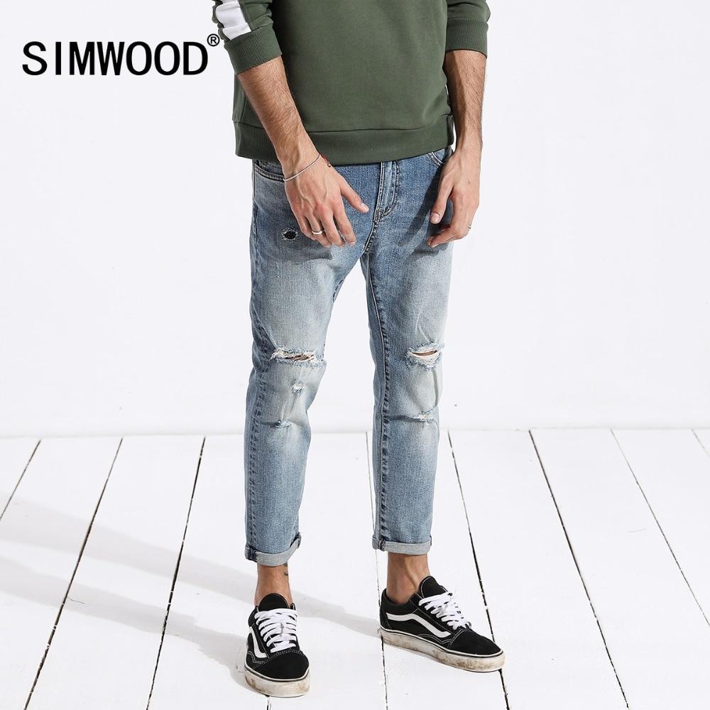 SIMWOOD   jeans   men hip hop fashion ripped hole skinny Ankle-length denim pants slim fit streetwear men clothes 2019 summer 180217