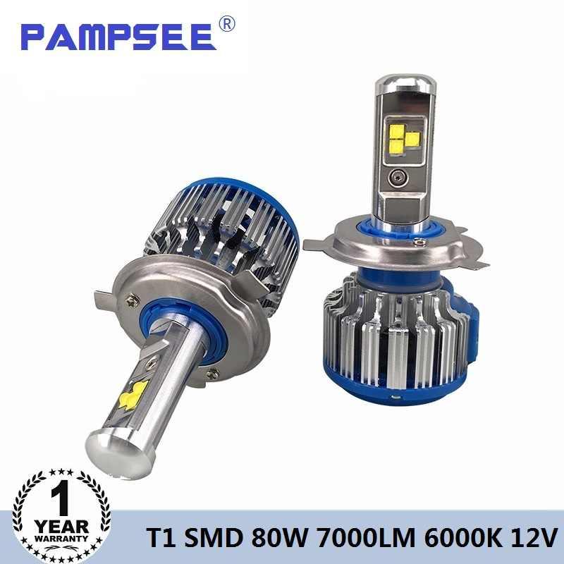 PAMPSEE H4 Hi/lo H7 H11 9006 Car LED Headlight 9005 HB3 HB4 H1 H13 High Power Super White 6000K Bulbs Replace Original Lamp