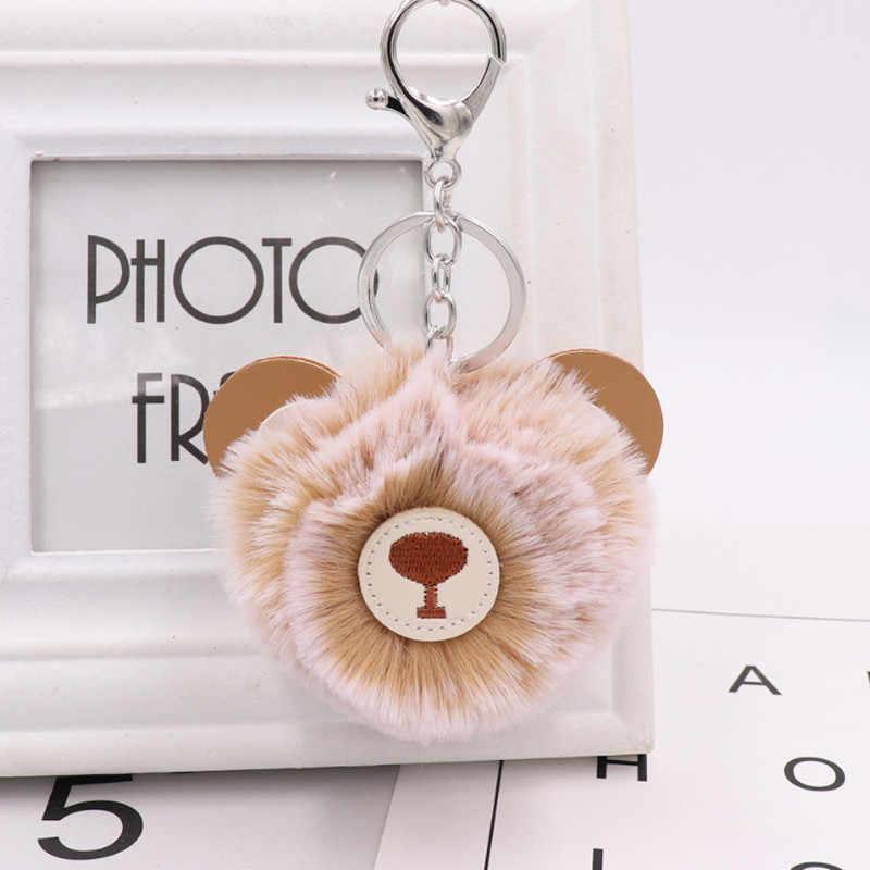 2018 Bonito do Urso Fulffy Pom Pom Charme Urso Keychain Chaveiro de Couro PU Titular Saco de Pele Artificial Animal Bonito Chaveiros
