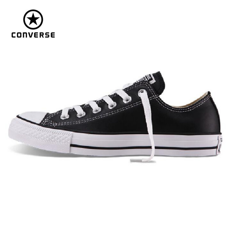 100% original Converse all star Chuck Taylor pu leather canvas shoes men women sneakers low classic Skateboarding Shoes 132174 image