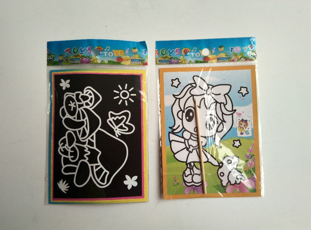 Happyxuan pcs/lot 13*9.5cm Two-in-one Magic Color Scratch Art Paper Coloring Cards Scraping Drawing Toys for Children 3