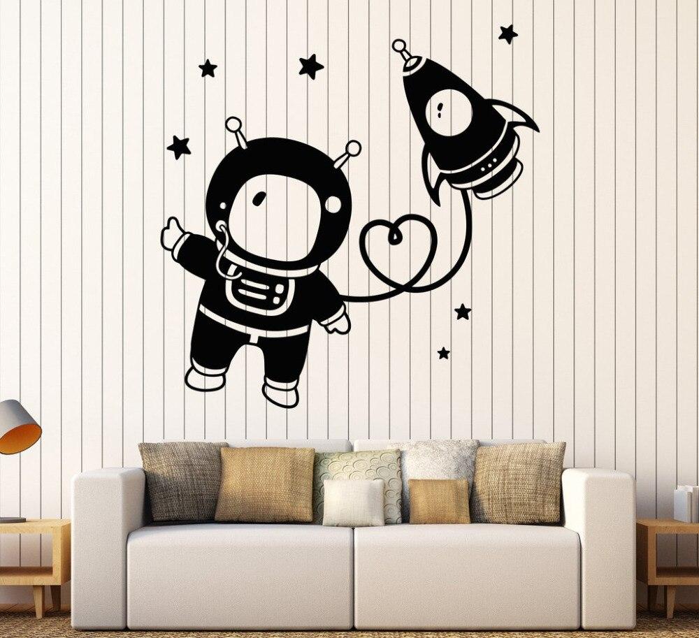 US $6.97 25% di SCONTO|Astronauta spazio nursery wall stickers camera da  letto soggiorno decorazione di arte star rocket vinile stickers murali per  la ...
