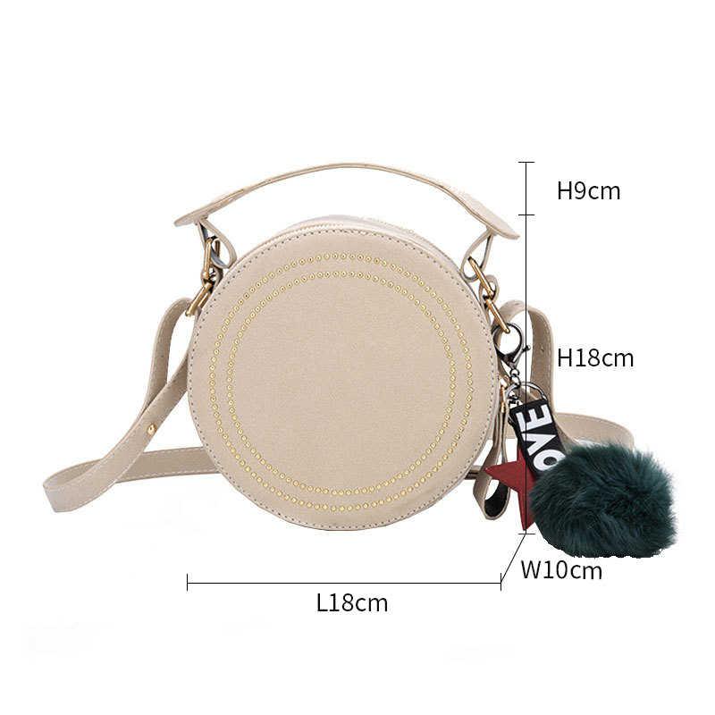 Крошечные сумочки через плечо круглые для женщин сумки заклепки PU кожаные сумки на плечо женский круглый кошелек Милая звезда Подвеска сумка