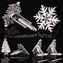 Shirt Cufflink Button Christmas-Gifts Alloy-Cuff Men's Decoration Snowflake Romantic-Color