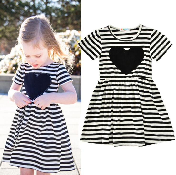 Spring&Autumn Casual Summer Girls Dress Striped Black White Love Vestido Princess Party Anna Dress sleep professor spring love