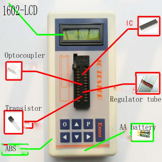 Portable Integrated circuit tester IC tester transistor tester online maintenance Digital LED ic tester цена