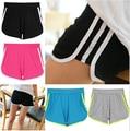 Envío gratis 2014 nueva moda elástica regulares casuales rayas mediados Waisted Cotton Sport Fitness Gym Shorts delgado para mujeres mujer