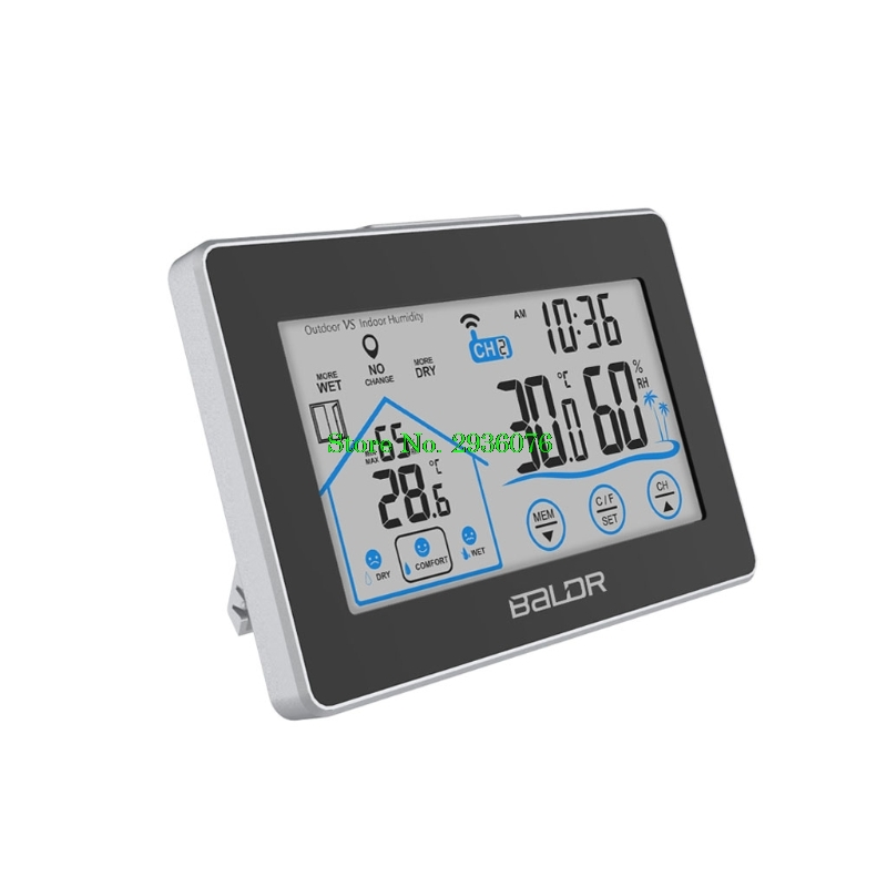 LCD Touch Screen Weather Station Displays Temperature Humidity Indoor Outdoor Sensor Drop Shipping Support wtl0785d02 lcd displays screen