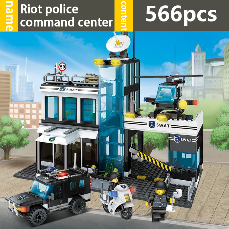 GUDI 9413 City SWAT Police Command Center 566Pcs Building Blocks compatible with famous brand city Educational toys for children bohs building blocks city police station coastal guard swat truck motorcycle learning