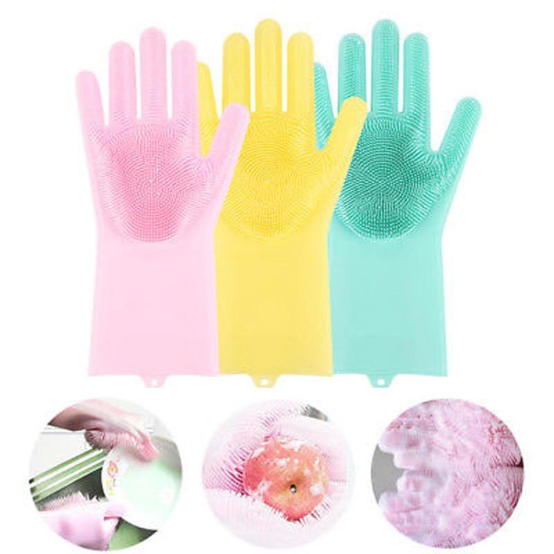1 par de guantes de limpieza mágicos de goma de silicona para limpiar el polvo lavando el pelo de perro jardín guantes de silicona para el hogar