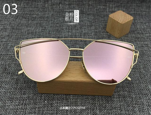 2016 New Cat Eye Aviator Sunglasses Women Vintage Fashion Metal Frame Mirror Sun Glasses Unique Flat Ladies Sunglasses UV400