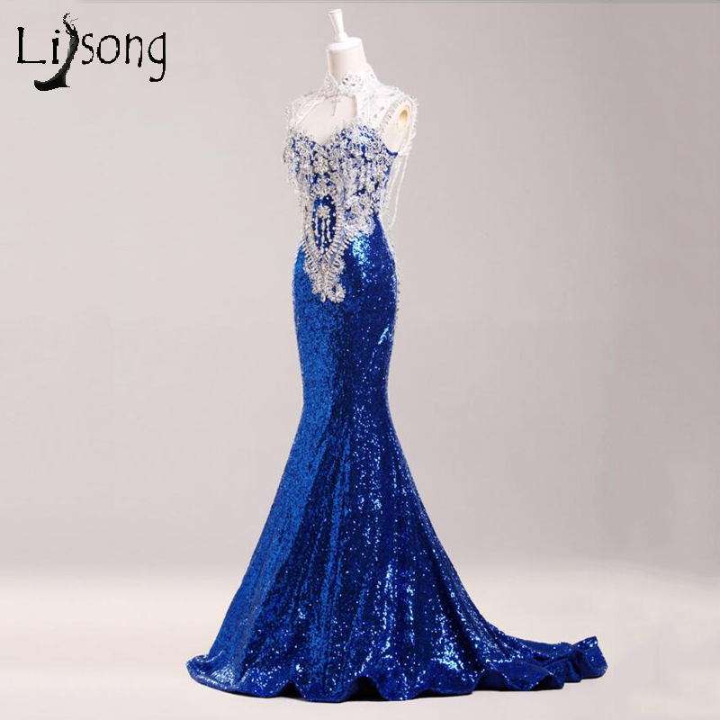 2018 Royal Blue Mermaid   Evening     Dresses   Long Open Back Burgundy Sequin Formal Gowns Prom Party Floor Length Gorgeous Maxi   Dress