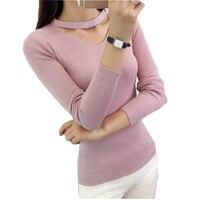 2016 New Fashion Women Spring Autumn Winter Basic Knitted Shirt Female Long Sleeve V Neck Sweater