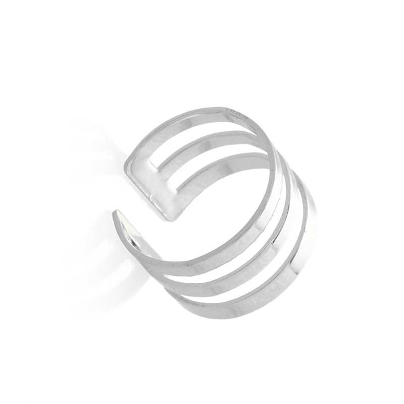 Jisensp เกาหลีแฟชั่นแหวนเรขาคณิตสำหรับผู้หญิง Punk สไตล์เปิดนิ้วมือแหวนหญิง Hip-Hop Knuckle แหวนของขวัญ