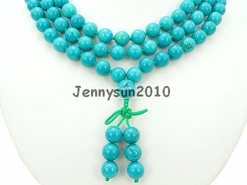 Natural Stabilized Tur-quoise 10mm Gems Stone Buddhist 108 Beads Prayer Mala Knot Necklace Multi-Purpose 5Strands/Pack