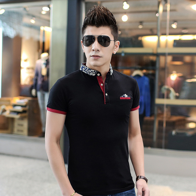 Men Polo Shirts 2016 Summer New Breathable Cotton Men's Short Sleeve Polo Shirt Stitching Korean Turndown Collar Slim Camisa