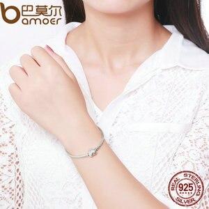 Image 3 - BAMOER autentyczne 100% 925 srebrny łańcuszek żmijka łańcuch chwile bransoletka z serduszkiem i bransoletka luksusowa biżuteria srebrna PAS917