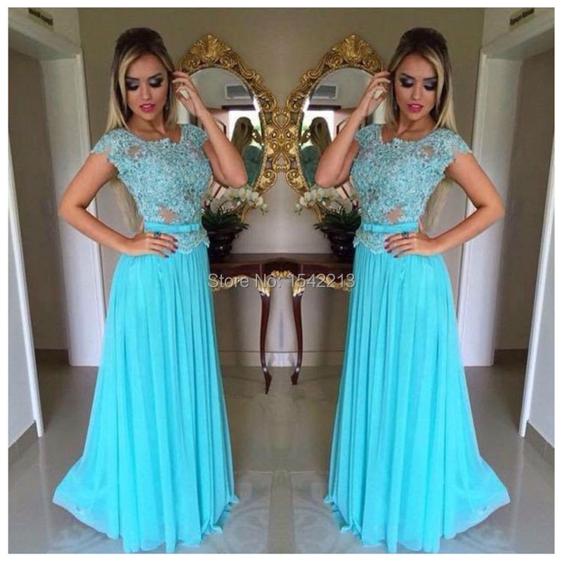 Hot Sale Light Blue Prom Dress with Stylish Lace Appliques Long ...