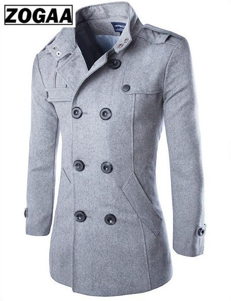 Top quality Woolen Coat Men British Style Double Breasted Long Windbreaker Jacket Autumn Winter New Wool Coat Men Grey Black 4XL in Wool amp Blends from Men 39 s Clothing
