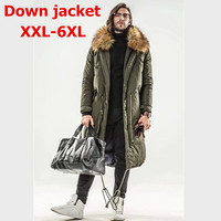 plus size 6XL Design 2017 New Winter Long Men's Jacket Fashion Classic Thickening Duck Down Overcoat Thermal Male Big size Parka