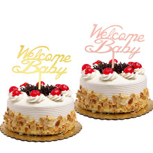 Cake Toppers Welcome Baby Birthday Wedding Gold Cupcake antlers Acrylic Topper Flags Shower Baking Decor DIY Party