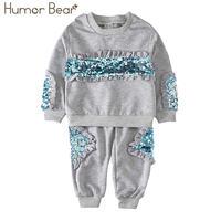 Humor Bear Girls Clothing Sets 2017 New Autunm Sets Children Clothing Sequins Design Coat Pants Kids
