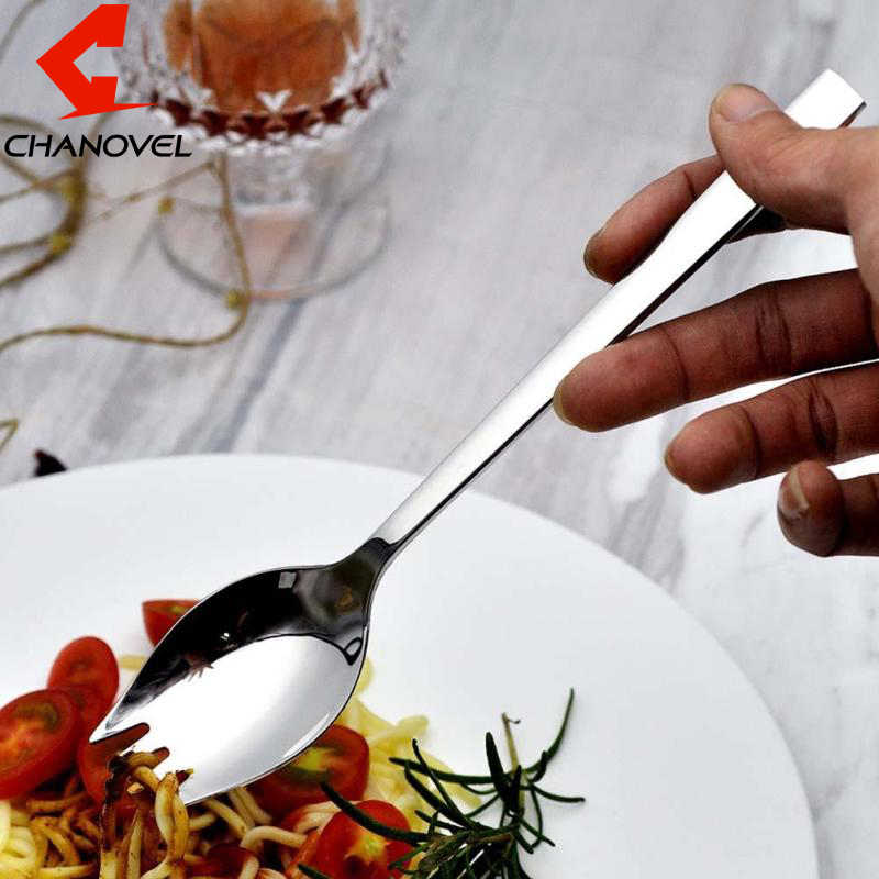 CHANOVEL 1pc Stainless Steel Spoon Fork Knife Portable Salad Spoon Cooking Utensil Outdoor Picnic Tableware