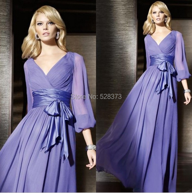 YNQNFS BD9 Chiffon V Neck Light Purple Long Sleeve   Bridesmaid     Dresses