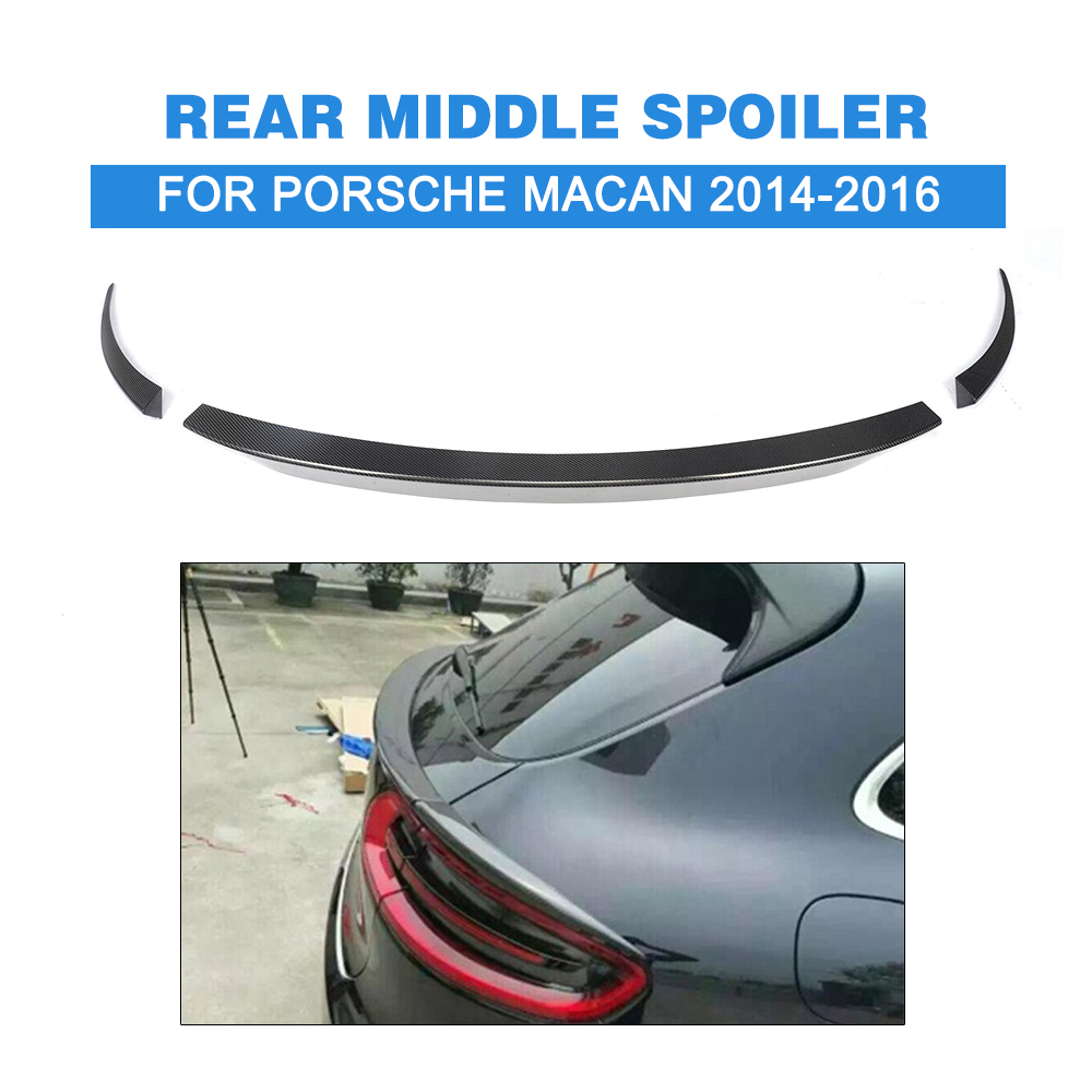 3pcs/set Carbon Fiber Hatchback Rear Middle Spoiler for Porsche Macan 2014-2016 Auto Racing Car Tail Trunk Lid Lip Wing Spoiler carbon fiber car rear bumper extension lip spoiler diffuser for bmw x6 e71 e72 2008 2014 xdrive 35i 50i black frp