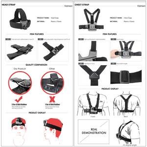 Image 2 - Accesorios de Vamson para Gopro Hero 9 8 7 6 correa para la cabeza correa para el pecho correa de casco Floaty Bobber Wrist Band para SJ4000 para Yi 4K VS71
