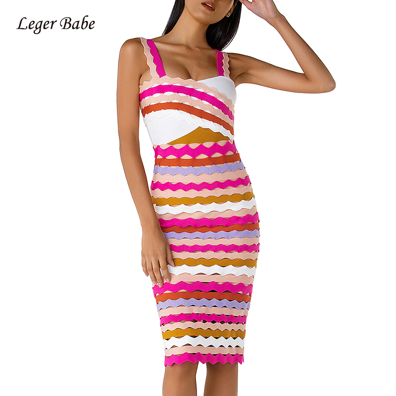 Rayon Bandage Dress For Women Sexy Spaghetti Strap Striped Colorful Dress 2019 New Fashion Cocktail Party Knee Length Dresses
