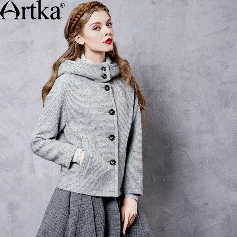 artka automne femmes veste de laine manteau d hiver avec capuche pour femmes marque cor enne. Black Bedroom Furniture Sets. Home Design Ideas