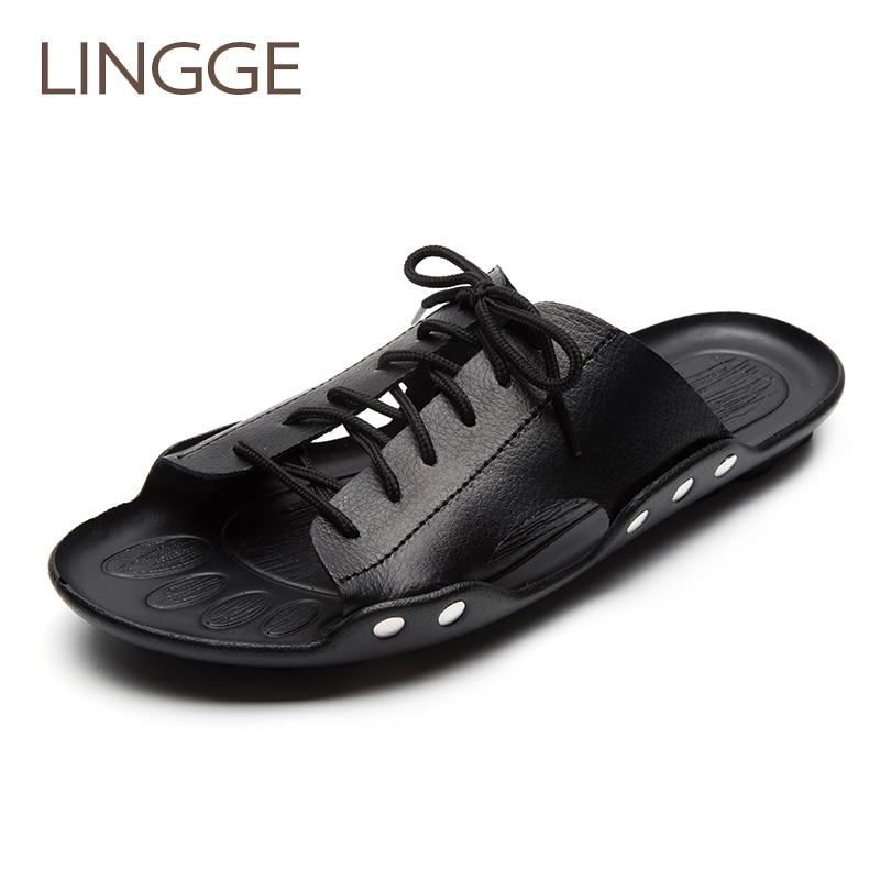 4633da66be Lingge Cuero auténtico verano Zapatillas Cruz-atado al aire libre  respiradero Toboganes verano playa hombres Zapatillas moda Zapatos tamaño  38-44