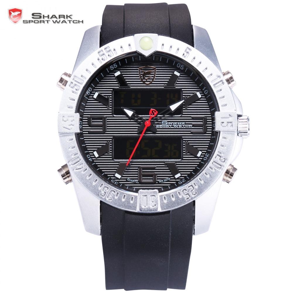 ФОТО SHARK Sport Watch New Silver Case Black Digital Date Alarm Stopwatch Rubber Band Waterproof  Male Quartz Men Brand Clock/ SH374