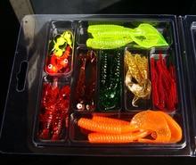 33pcs lot fishing lure kits soft earthworm baits combo curly tail worms Jig head Hooks soft