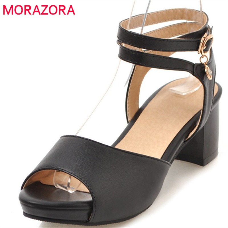 MORAZORA 2018 sweet peep toe woman sandals new arrival simple buckle summer shoes big size 34-47 party wedding high heels shoes morazora 2018 new women sandals summer sweet bowknot comfortable buckle spike high heels platform shoes peep toe shoes woman