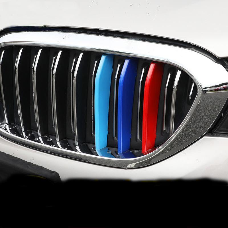 Car Styling Tricolor M Front Grille strips ABS exterior cover trim Motorsport Stickers for BMW 5 Series F10 F18 G38 528li 2018 car styling 14pcs abs chromed front head grille grill molding cover trim for bmw x6 f16 2015